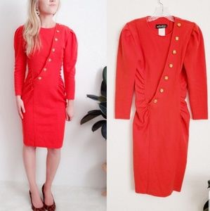 80-90s Vintage Orange Button Up Bodycon Dress 386
